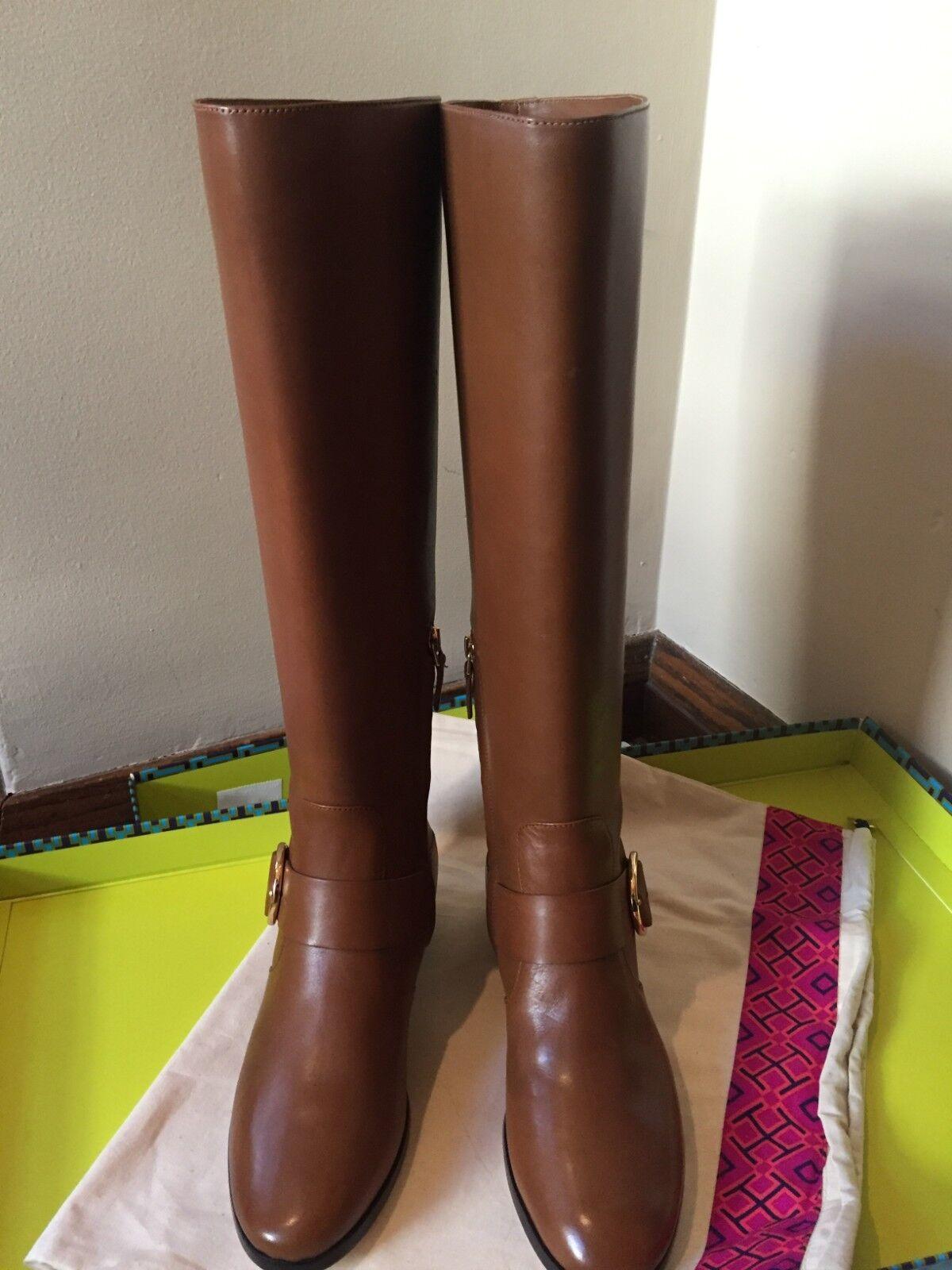 NIB TORY TORY TORY BURCH Sofia Black Leather Knee High Buckled Riding Boot Size 9M  498 c7f146