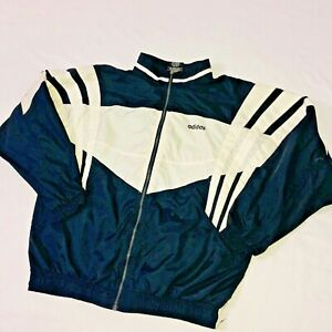 Détails sur Super Rare Vintage Adidas Veste Coupe Vent Noir Blanc Coque Cal Surf Grand