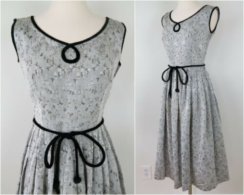 Vintage 1950s Silver Brocade Evening Dress Pleated