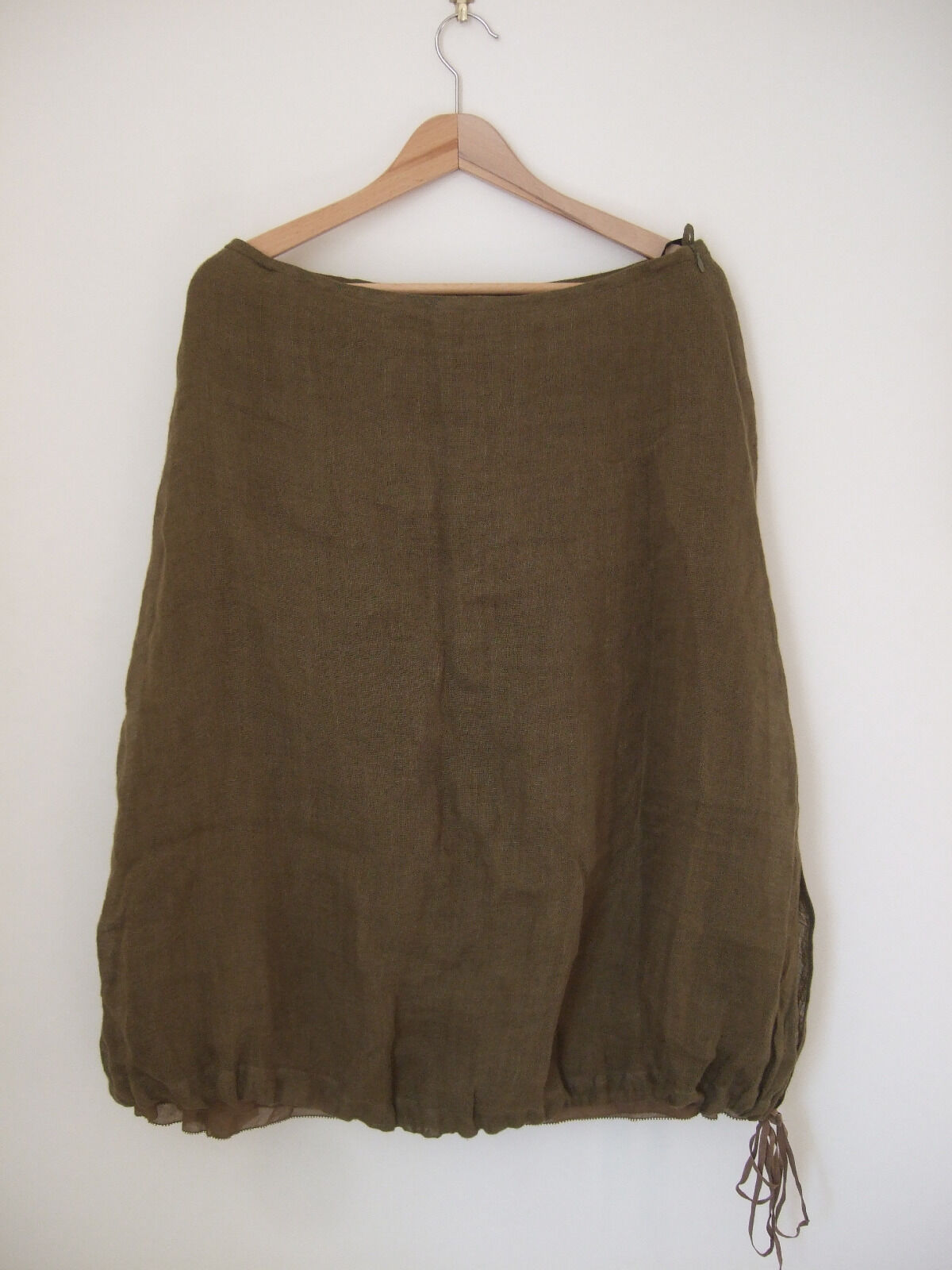 Designer Eileen Fisher Lined Skirt Size S Calf length % Linen