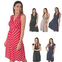 Damen Mini Kleid Mit Punkten Wickelkleid Sommerkleid V-Ausschnitt Geknotet Kurz