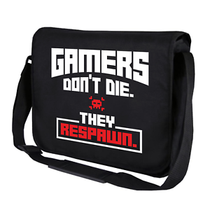GAMERS-DON-039-T-DIE-THEY-RESPAWN-Gamer-Admin-Spruch-Fun-Umhaengetasche-Messenger-Bag