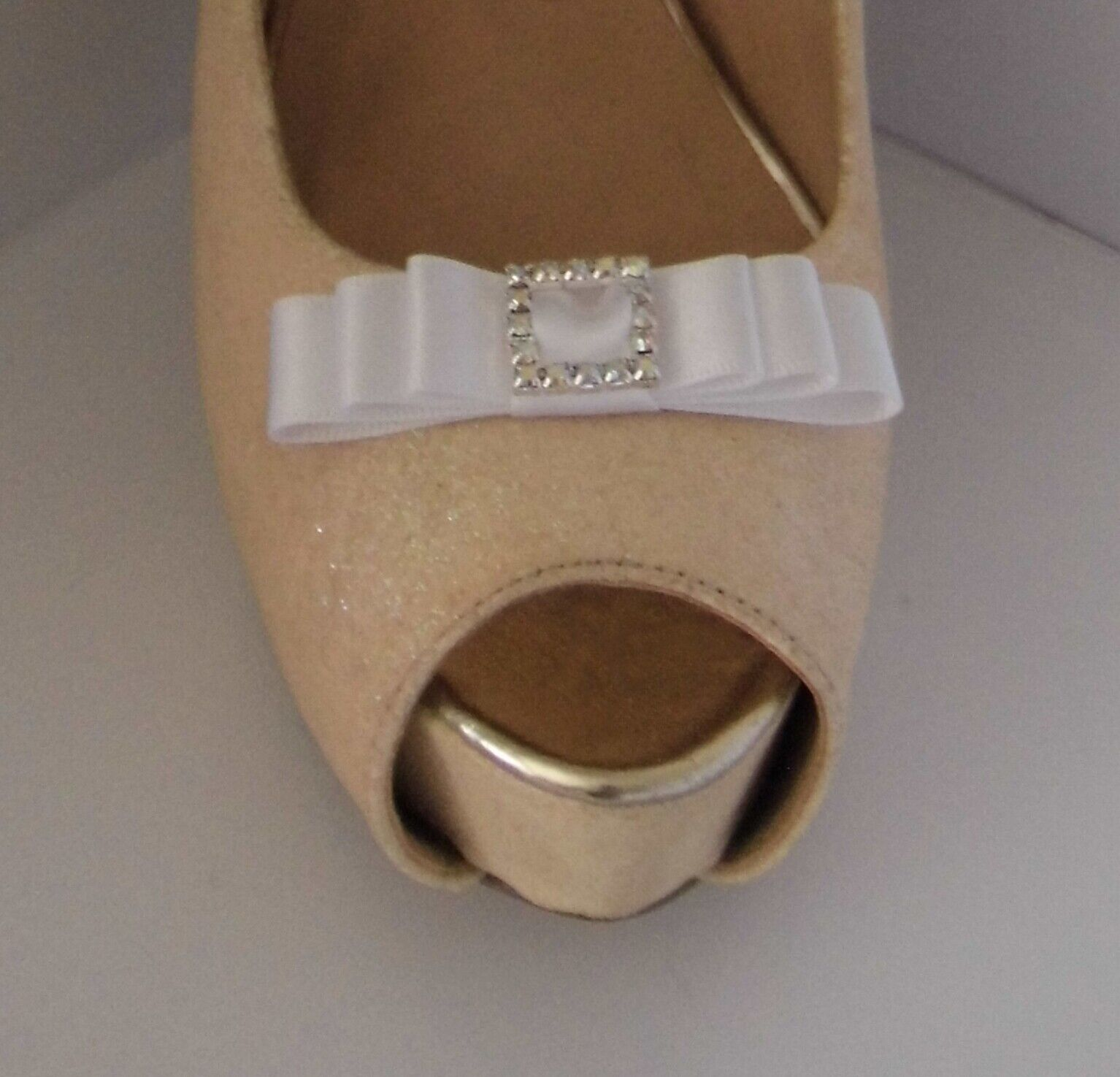 2 White Small Satin Bow Shoe Clips with Matching Diamante Buckle Centre