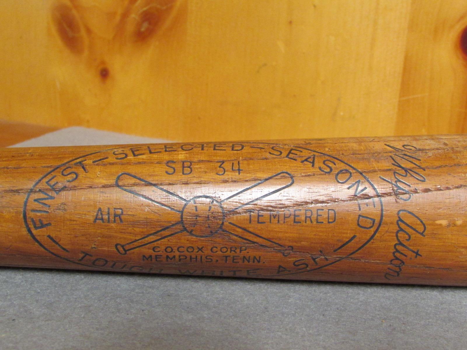Vintage C. O. O. O. Cox Corp. Früh Holz Baseball Schläger SB34 Peitsche Aktion d35327