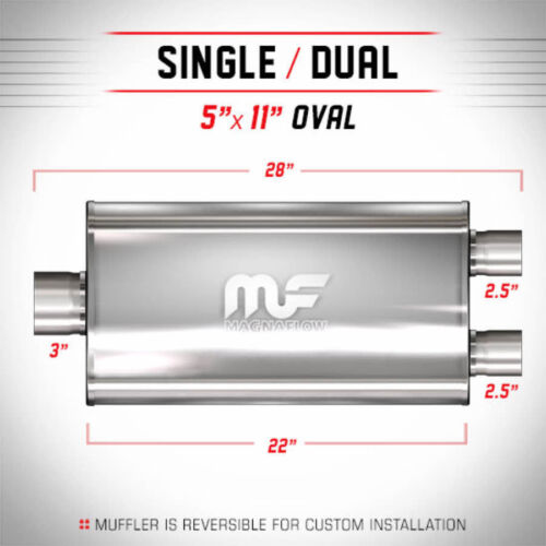 MAGNAFLOW 12588 Muffler Stainless Steel Single 3 inch Inlet  Dual 2.5 Outlet