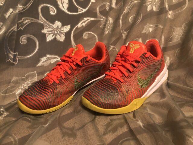 Nike Kobe Mentality 2 Size 8.5 Total Crimson Volt Basketball Shoes 818952-800