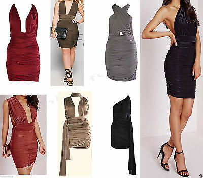 Women New Ladies Multiway Slinky Bodycon Ruched Wrap Do It Anyway Party Dress
