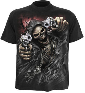 SPIRAL-DIRECT-ASSASSIN-T-Shirt-Biker-Grim-Reaper-Skull-Goth-Skeleton-Top-Tee