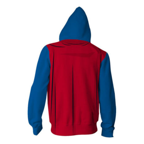 Superhero Superman Cosplay Hoodie Zipper Hooded Sweatshirt Sweater Pullover Coat