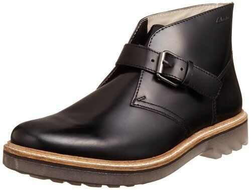 Clarks  Mens  MONMART HI  BLACK HI SHINE LEATHER  UK 7,8,8.5,9,10,11,12 G
