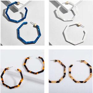 Women-Charm-Trendy-Big-Tortoise-Leopard-Print-Devri-Resin-Hoop-Earrings-Fashion