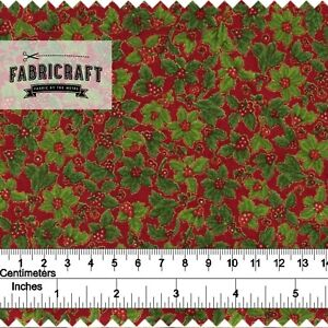 Christmas-Fabric-Small-Holly-on-red-100-cotton-1-metre
