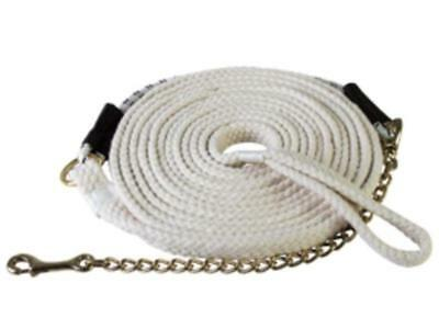 25/' FLAT COTTON WEB WITH BRASS CHAIN /& SNAP ENGLISH WESTERN HORSE LUNGE LINE