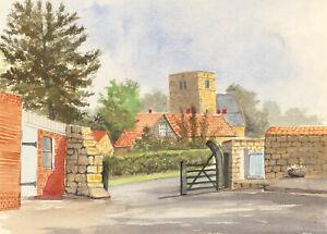 James-Frank-Adams-1923-2008-Contemporary-Watercolour-Village-Church