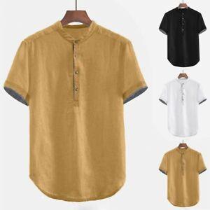 Men-039-s-Baggy-Cotton-Linen-Short-Sleeve-Button-Plus-Size-T-Shirt-Tops-Blouse-HOT