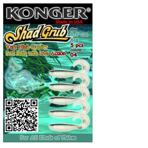 "Leurres doux pêche appât SHAD GRUB 9cm 3.5/"" Ripper Twister jig heads kopyto Pike"