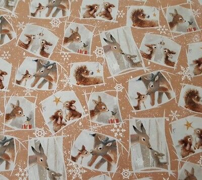 Christmas Animal Deer Bunny Brown Cotton Fabric QT 24523-A Woodland Wonder Yard