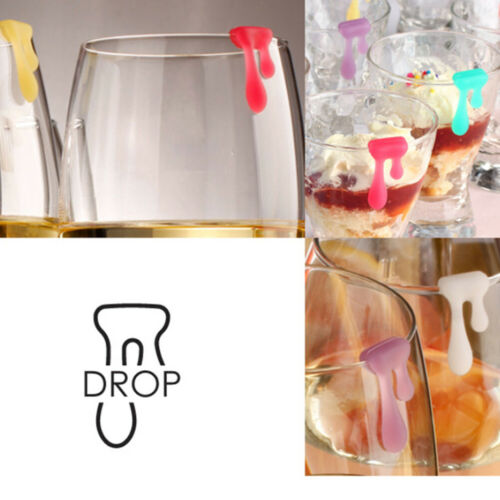 6Pcs Wine Glass Marker Silicone Water Drop Party Drinking Cup Identifier Sign
