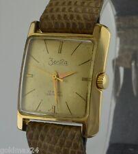 ZENTRA 17 Rubis Antichoc - Herrenuhr / Handaufzug / vergoldet & Kroko-Armband