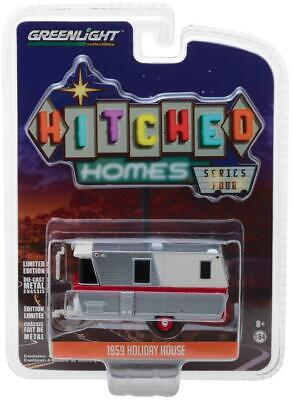 Greenlight 1:64 1959 Holiday House Travel Trailer Diecast Model Silver 34040A