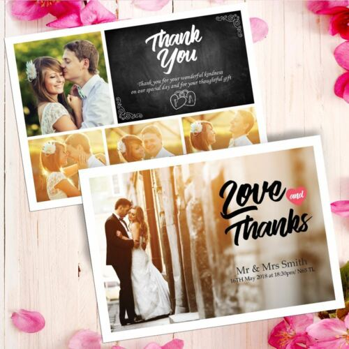 PERSONALISED SINGLE SIDED POSTCARD PHOTO WEDDING THANK YOU CARDS 50 100 200