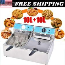 4000w 1010l Electric Deep Fryer Dual Tank Commercial Restaurant Stainless Steel