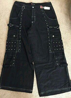 Illig Black Pants Goth Rave Skater Punk Style Studded Wide SIZE 40 NEW!