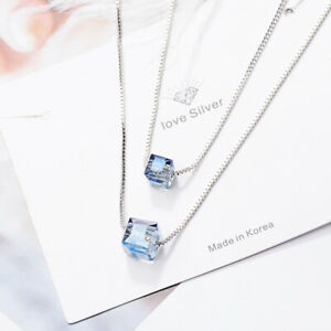 Double-square-Crystal-Pendant-925-Sterling-Silver-Necklace-Women-Fashion-Jewelry