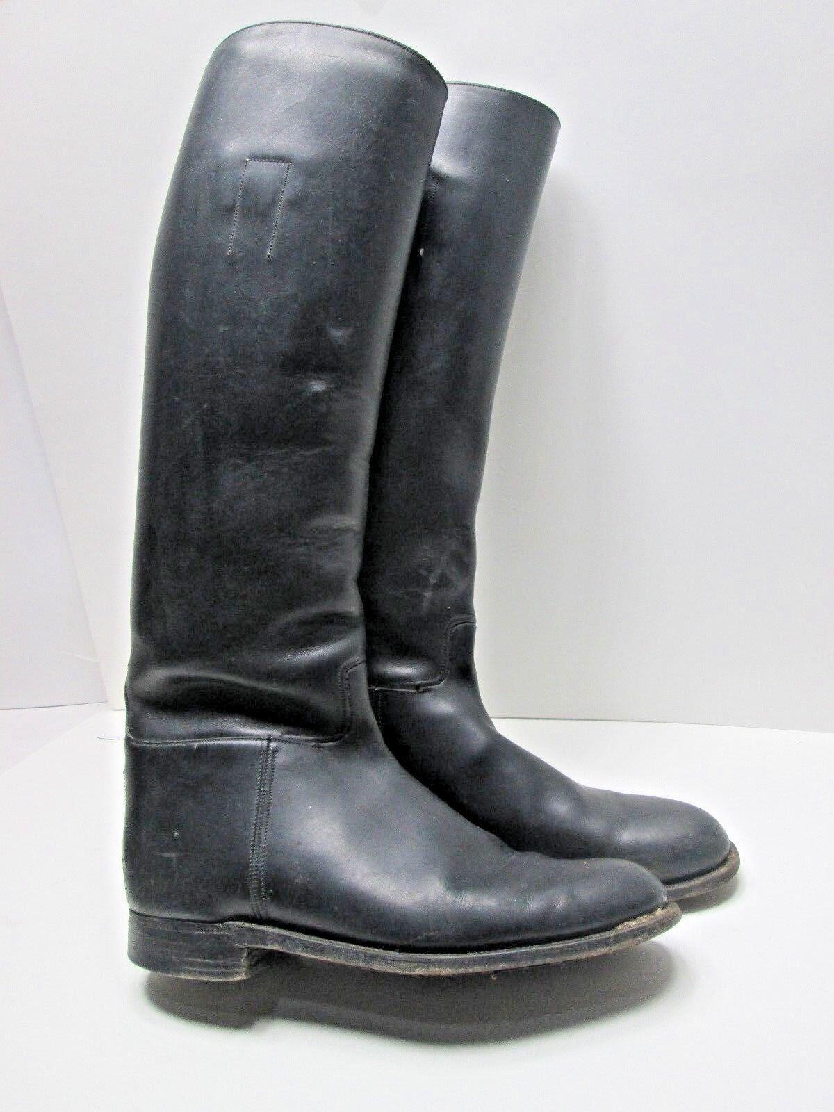 Vintage Handmade USA Womens 8 BLACK TALL EQUESTRIAN Leather RIDING DRESS BOOTS