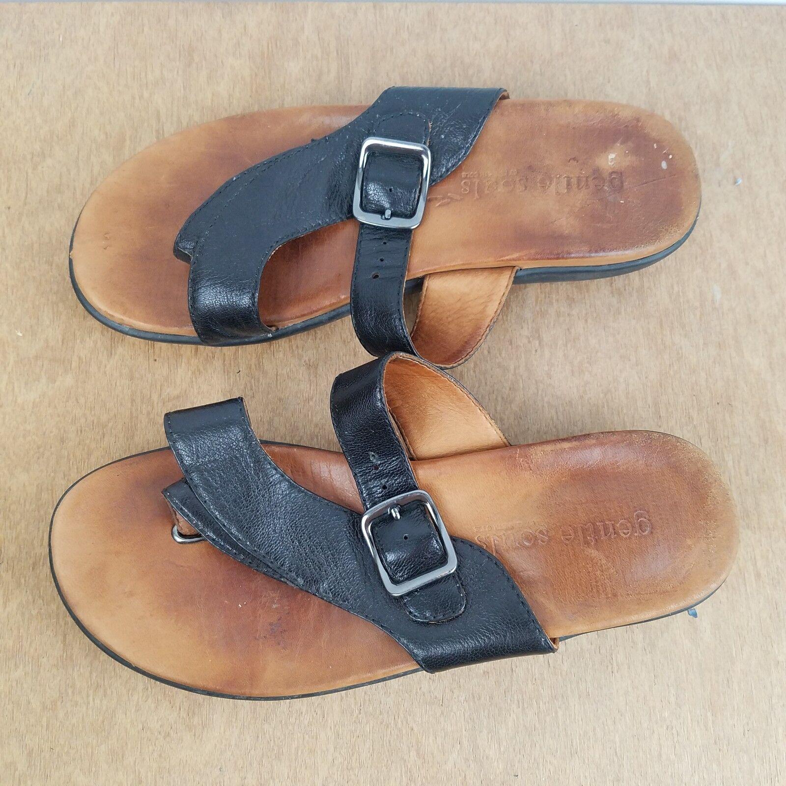 Gentle Souls seagol nos para Mujer 7 Cuero Sandalia Zapatos Negro Slip On Tanga