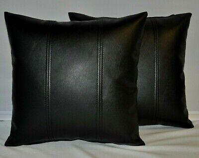 "2 Black /& Orange Twin Stripe Faux Leather Cushions 16/"" 18/"" 20/"" /& Filler Pads"