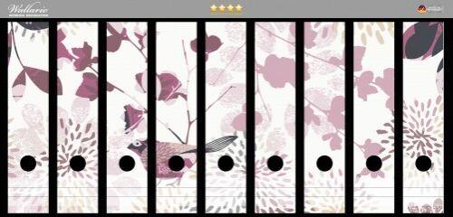 Wallario Ordnerrücken selbstklebend für 9 breite Ordner Blühende Vögel rosa