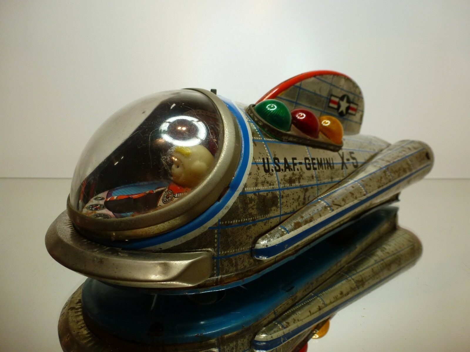 MODERN TOYS JAPAN SPACE SHIP U.S.A.F GEMINI X-5 L24.0cm BATTERY-  GOOD CONDITION