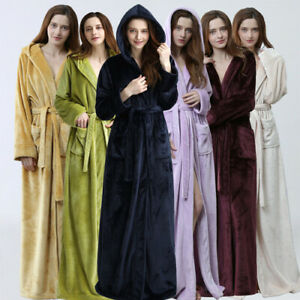 Women Men Winter Plus Size Flannel Night Robe Hooded Warm Bathrobe Couple Thick Ebay