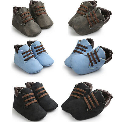Newborn Baby Boy Girl Crib Shoes Toddler Soft Sole Leather Sneakers Prewalker