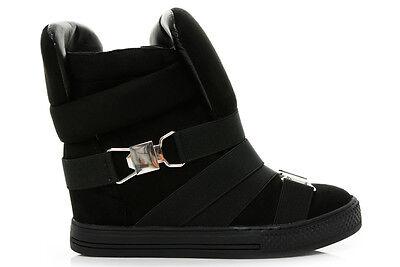 Nuevas señoras para mujer cuñas Zapatillas Sneakers Botas Hasta el Tobillo Zapatos Hi High Top Size Uk