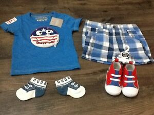 Baby-Boys-Size-3-6-Months-Blue-T-Shirt-amp-Checked-Shorts-amp-Baseball-Boots-New