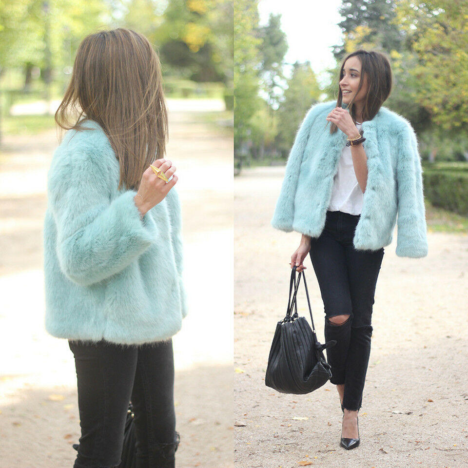 ZARA blueE FUR COAT CELEBS BLOGGERS SIZE M MEDIUM