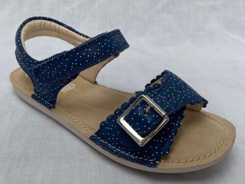 BNIB Clarks Girls Ivy Blossom Blue Leather Air Spring Sandals F Fitting
