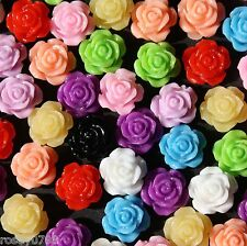 100 x 10mm Resin Rose Flower Embellishments, Random Mix Of Colours