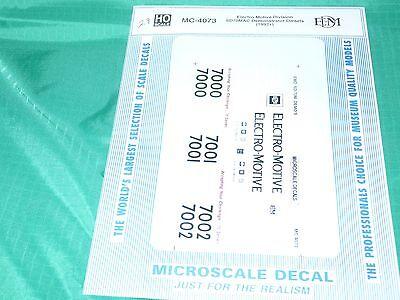 Microscale decals HO MC-4073 EMD SD-70M wide cab demonstrator 1992  F135