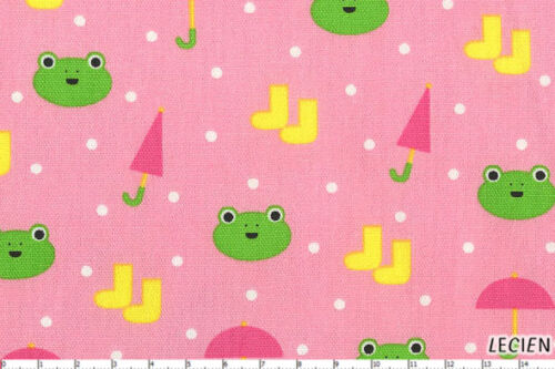 SALE Minny Muu Plus Kawaii Frog Frogs Rainboots Japanese Pink Fabric Half Yard