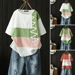 Women-Summer-T-Shirt-Tops-Vintage-Loose-Stripe-Patchwork-Loose-Tee-Shirt-Blouse