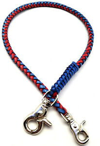 Handmade-Biker-chain-blue-Red-braided-leather-Trucker-wallets-made-in-USA