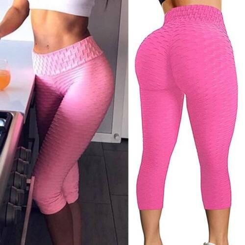UK Womens Cropped Leggings Capri Yoga Pants Anti-Cellulite Gym Fitness Sports