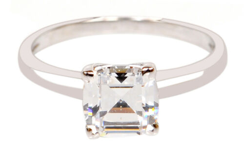 14KT Real Solid White Gold 2.90 Carat Cushion Shape Solitaire Anniversary Ring