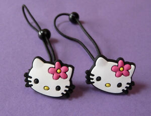 HELLO KITTY HAIR BOBBLE BAND ELASTICS PONIES PINK RED BOW GIRLS NEW
