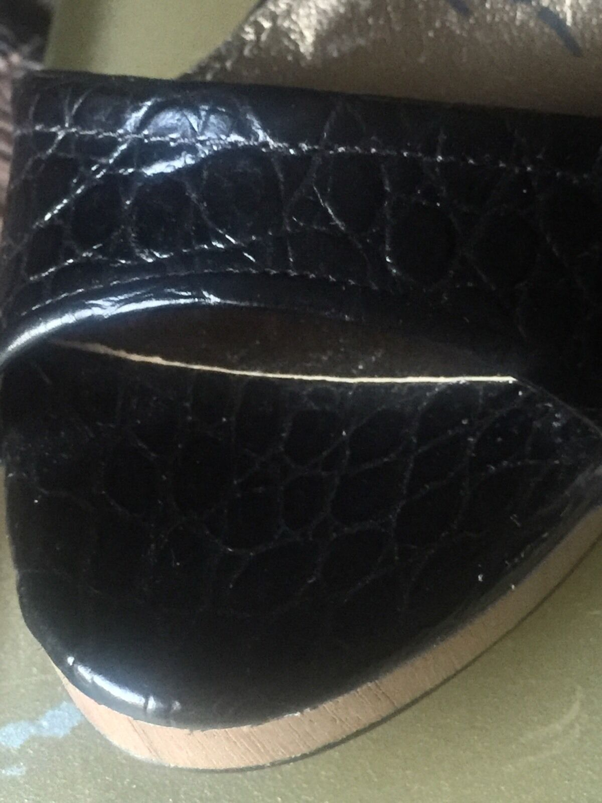 New $900 Size 7 1/4 (38.5) Lanvin Black/Brown Croc Embossed Embossed Croc 2013 Chrome Heel ee7f77