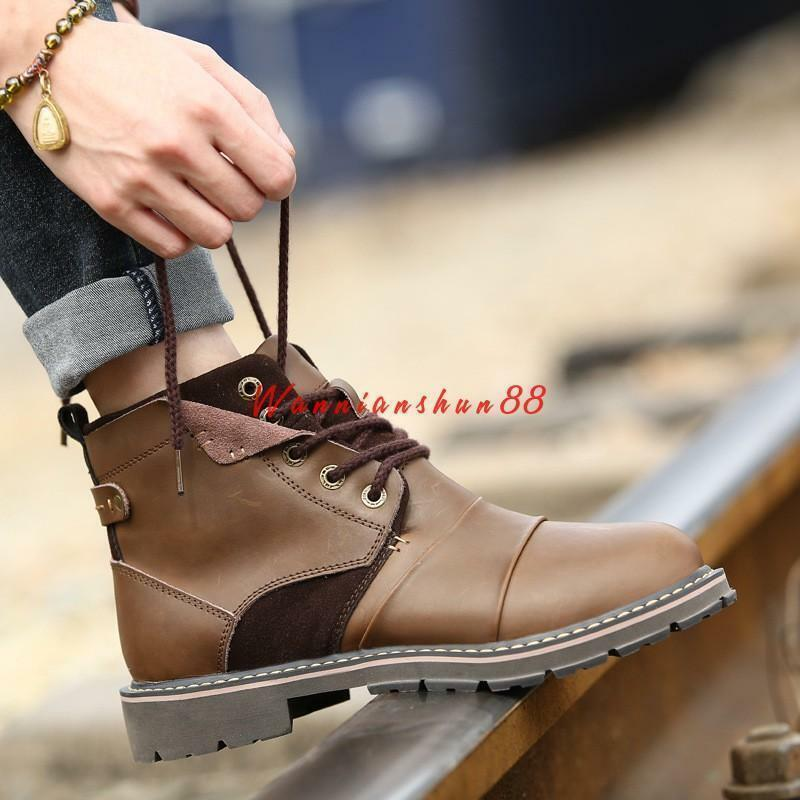Men's high top leather lace up chukka desert casual shoes military ankle boots 8