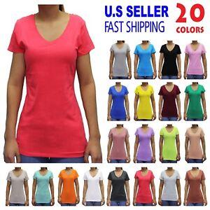 Details about Women Basic Short Sleeve Stretch V NECK Plain Top Solid Color  T Shirt S-3XL 8ad7900c2